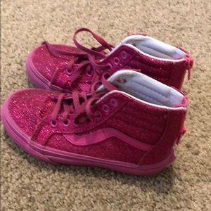 Girls Vans hot pink glitter shoes